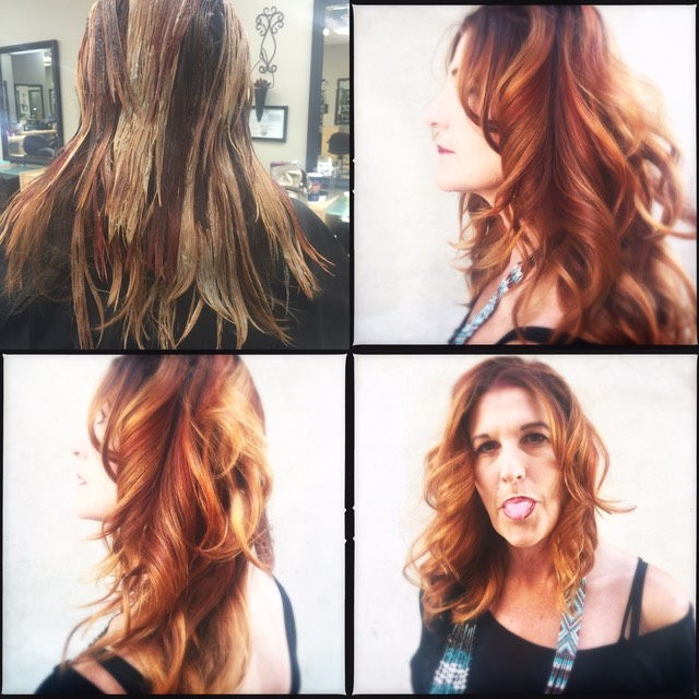 Red copper and balayage sun kiss highlights