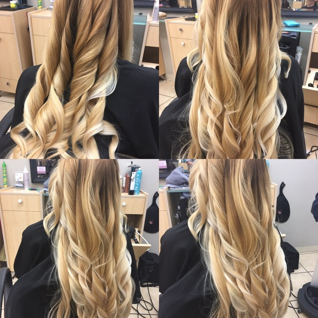 Balayage hair color on long hair