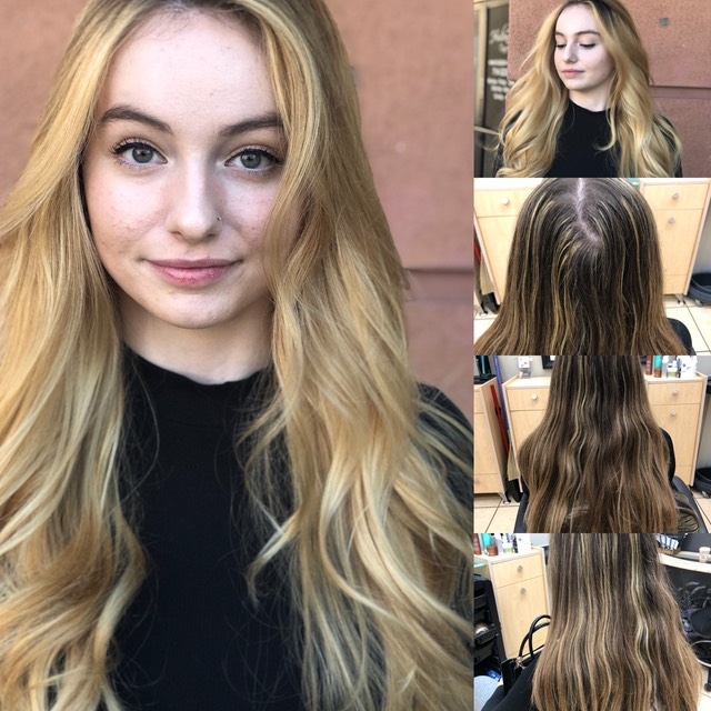 Color correction on long hair