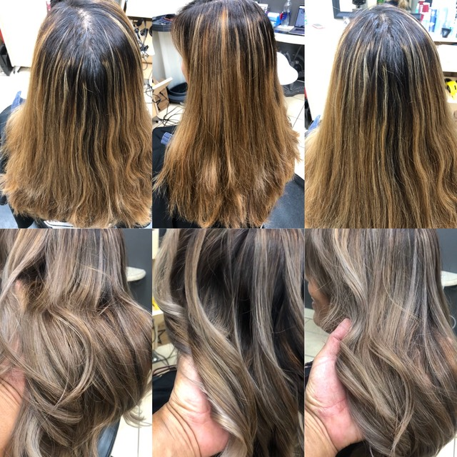 Client wanted balayage and got stripes so she came to see me to get rid of the stripes and brassy red orange hair color