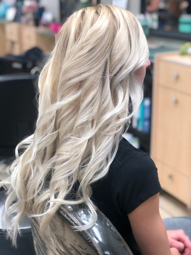 Nordic blonde hair color painting