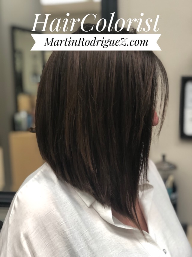 A-line bob cut with added color to blend gray hair that  looks as if she was born with those color tones  IMG 0525