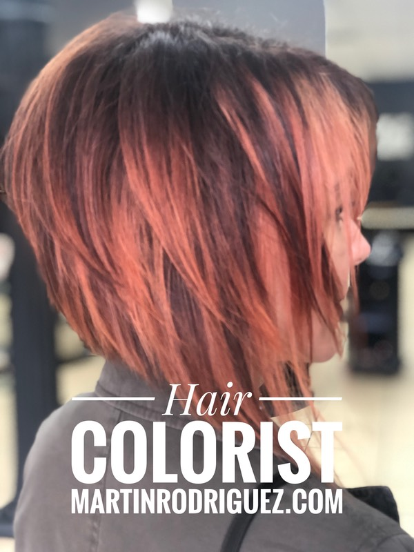 A line bob with pink red color