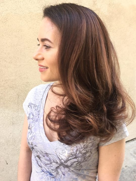 Natural looking balayage for brunette hair