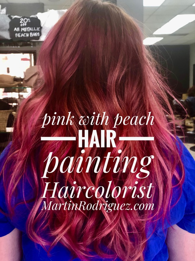 Peach with pink hair color painting 2018