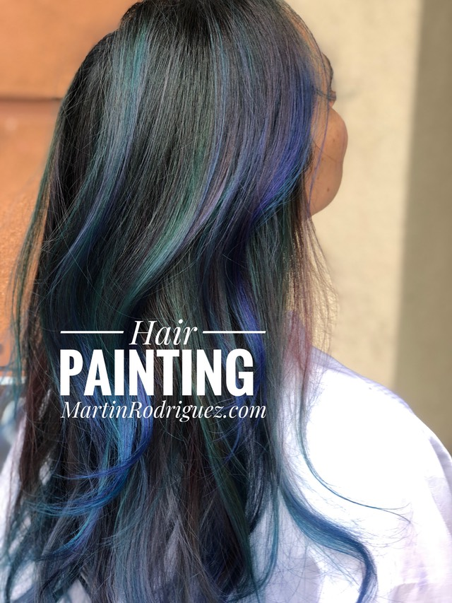 Hair Painting with blue,Violet and teal hair color 2018