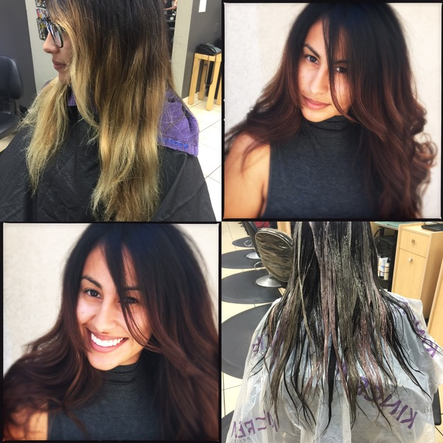 Winter hair color correction from OMBRE To NATURAL