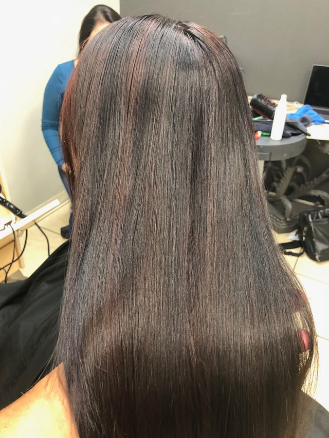 Strobe balayage hair color