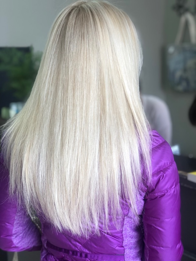 White blond Nordic Hair coloring  this process can take well over four hours, depending on past history of your hair