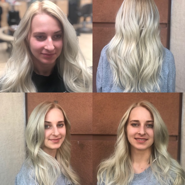 Cool tone blond hair coloring