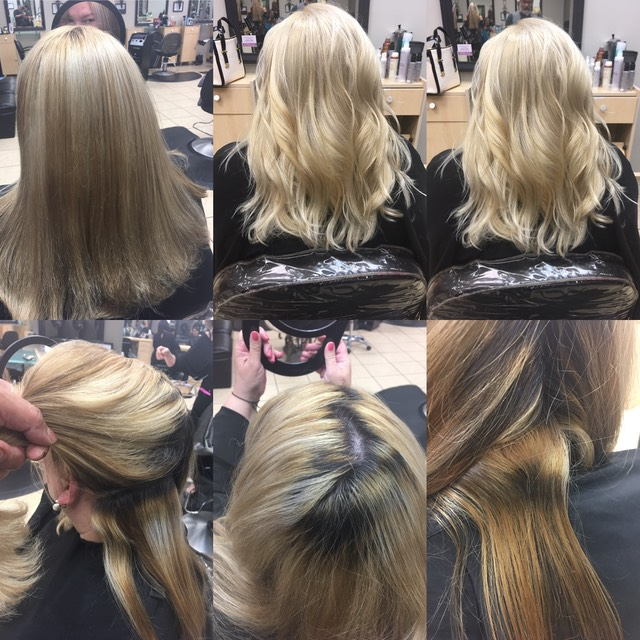2-14 20 17 Valentines hair color correction icy blonde , When it comes to a great hair color correction my goal is to leave your hair in the best condition possible and with the right color tone. You can see the image above client had this color done at a local salon and they left  Hair  very brassy with stripes dry out and unhealthy looking.