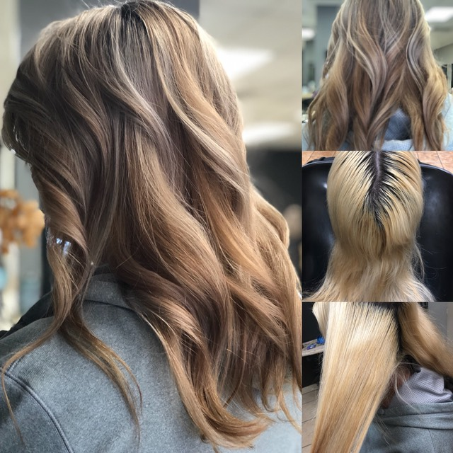Hair color correction on blonde bleached hair