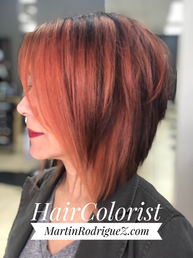 Stacked a line bob cut and colored red pink