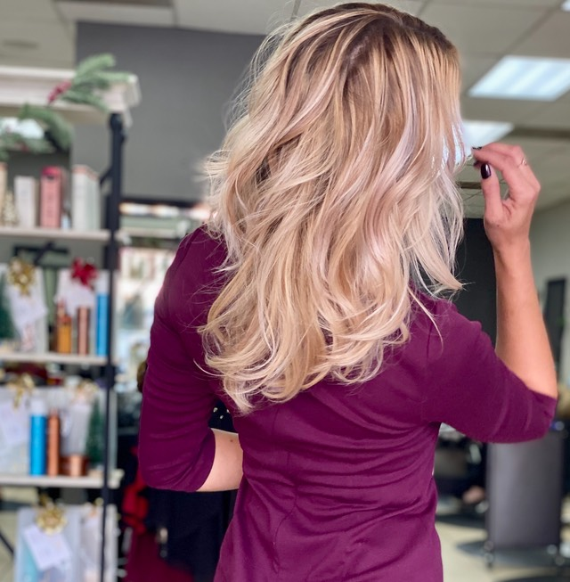Balayage hair painting with Contrast ,Champagne kisses