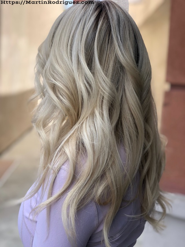 Natural shadow root and cool ash tones