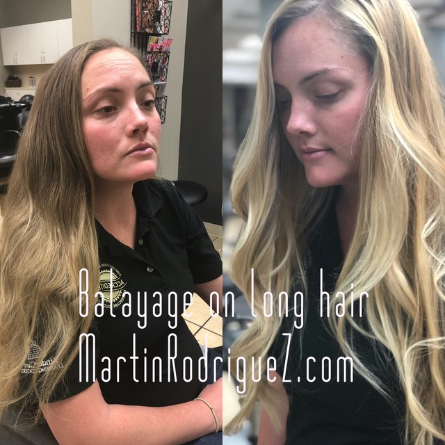 Balayage hair color painting on extra long hair