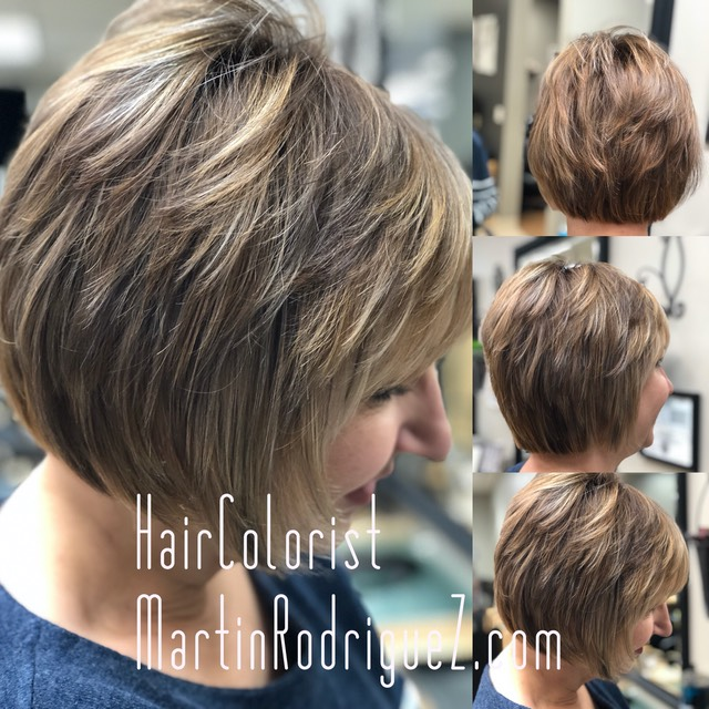 Balayage contouring hair painting on short fine hair