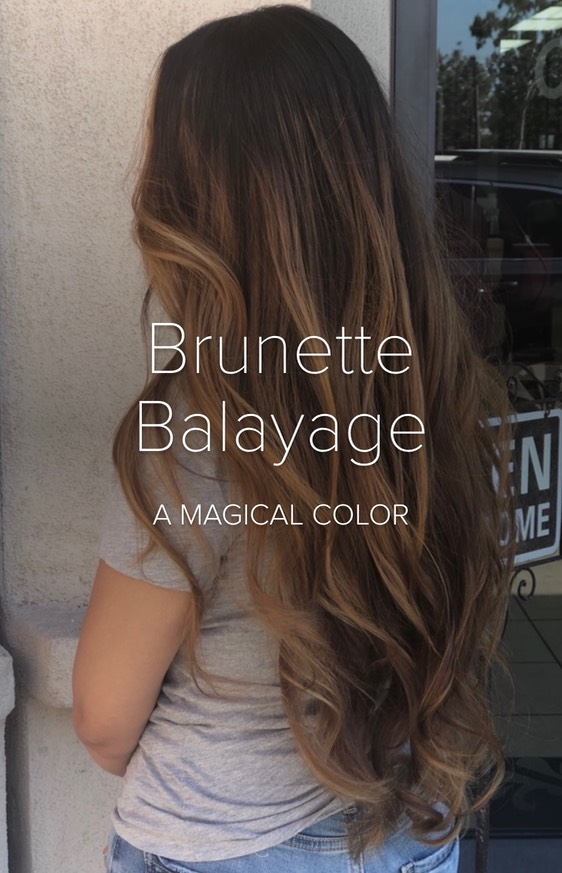 Brunette long hair balayage hand painting   IMG_8771
